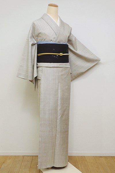 銀座【A-2980】塩沢紬 やまだ織 灰白色 多彩な竪縞(反端付)