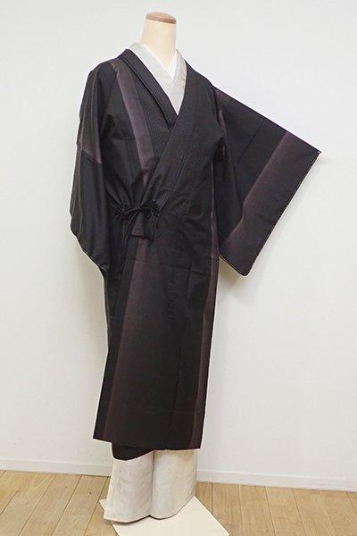 銀座【E-1112】(細め)単衣 大島紬地 道中着 黒色 竪縞(証紙付)