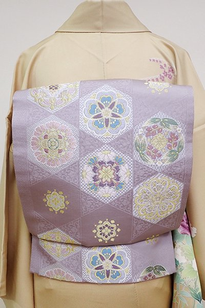 銀座【L-4796】袋帯 白藤色 亀甲に花や華文など