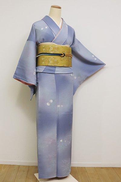 あおき【D-2387】(S)小紋 青藤色濃淡 秋の花の図