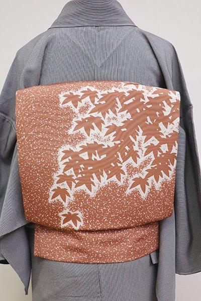 あおき【K-6435】塩瀬 染名古屋帯 ときがら茶色 蒔き糊に楓の図(落款入・三越扱い)