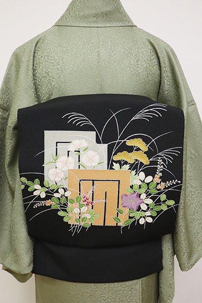 あおき【K-6436】縮緬地 染名古屋帯 黒色 源氏香に秋草の図