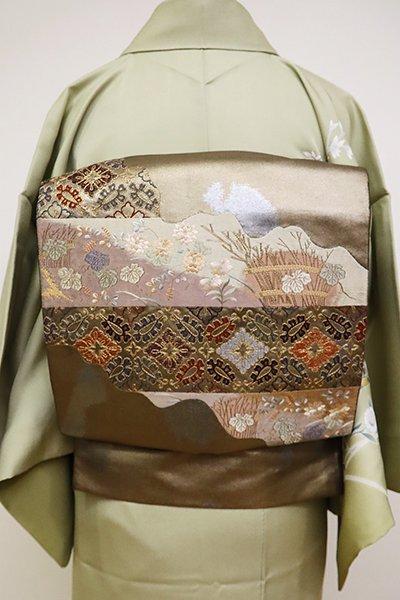 銀座【L-4800】袋帯 金色 道長取りに秋草など