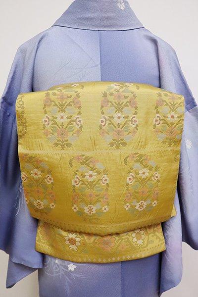 銀座【L-4802】洒落袋帯 櫨染色 更紗文
