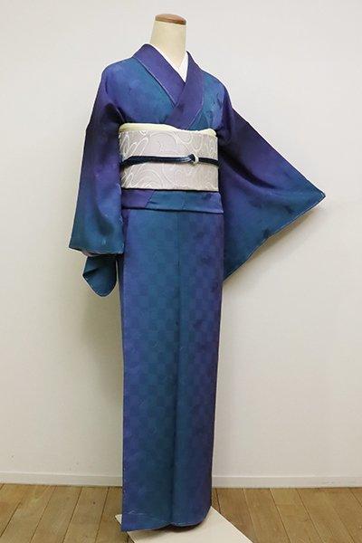 銀座【D-2390】(S)小紋 瑠璃紺色×藍色 竪暈かし 市松に猫の地紋(反端付)