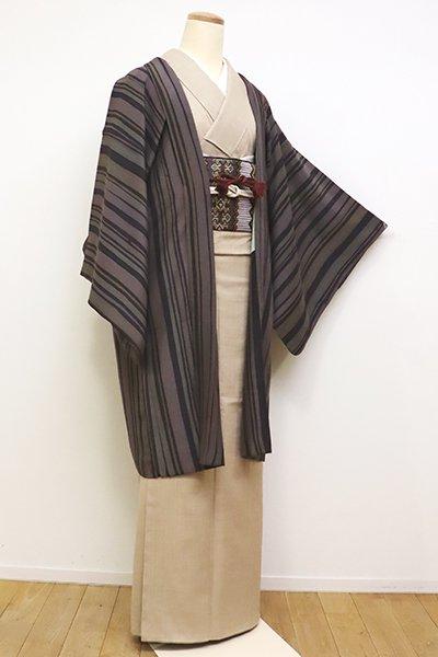 銀座【E-1118】羽織 紫鼠色 竪縞(羽織紐付き)