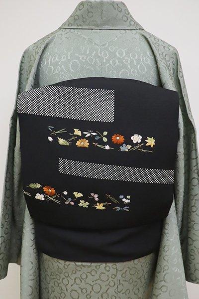 WEB限定【K-6438】塩瀬 刺繍 名古屋帯 黒色 段に吹き寄せ文