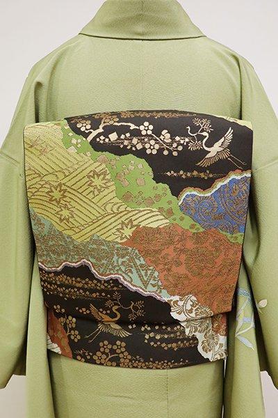銀座【L-4804】西陣 川島織物製 本袋帯 檳榔子染色 道長取料紙文(落款入・三越扱い)