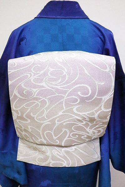 銀座【L-4807】袋帯 白色×桜鼠色 段暈かしに抽象文