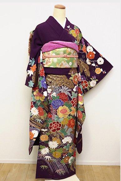 銀座【B-2395】振袖 深紫色 四季花の図