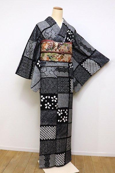 銀座【D-2391】小紋 総絞り 黒色 市松に割付文
