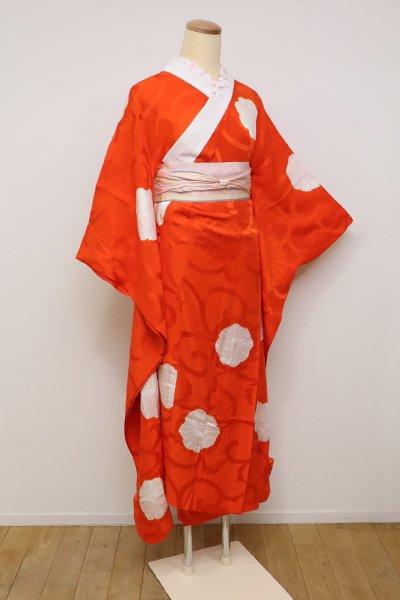 銀座【F-423】振袖用 長襦袢 朱赤色 絞り 菊唐草地紋に菊花文