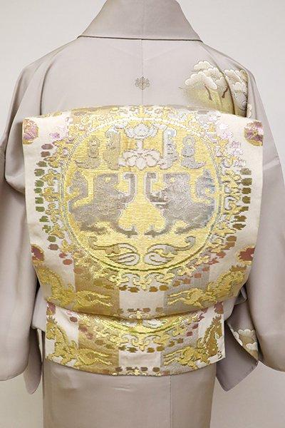 銀座【L-4810】龍村平蔵製 本袋帯 銘「円文白虎錦」