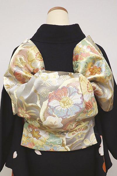 銀座【L-4814】西陣 藤原製 袋帯 薄鈍色 四季花や蝶の図 (落款入)