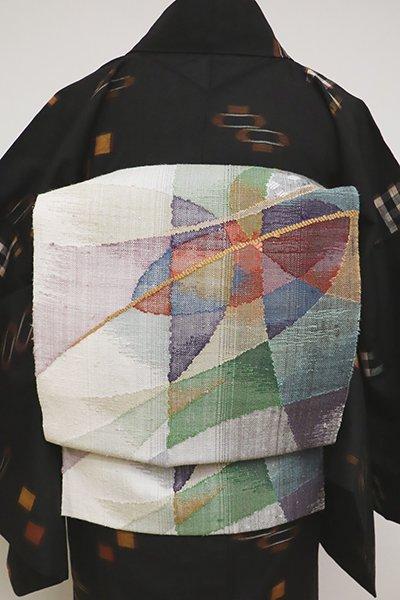 銀座【K-6445】紬地 織八寸名古屋帯 白色 多彩な抽象文