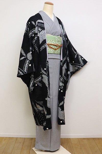銀座【E-1156】羽織 黒色 絞り 露芝に兎(羽織紐付き)