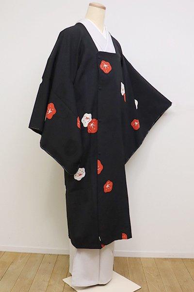 銀座【E-1164】道行コート 黒色 紅白梅の図