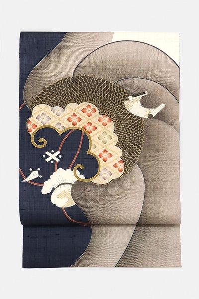 銀座【帯3203】京都しょうざん製 生紬地 洒落袋帯