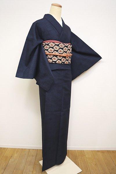 銀座【A-2987】紬 濃藍色 幾何文に木の葉の図