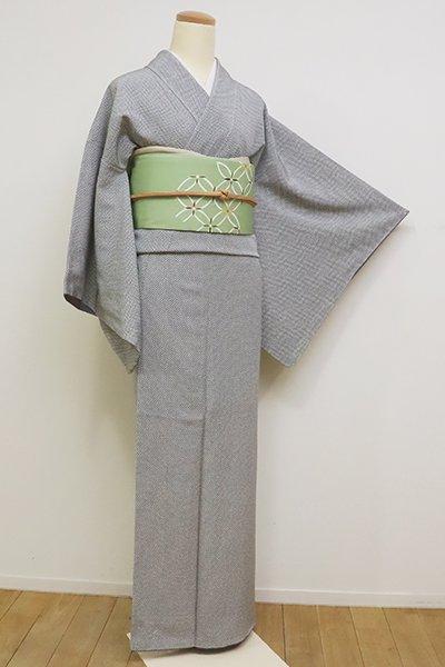 銀座【C-1775】江戸小紋 白鼠色 市松文(反端付)