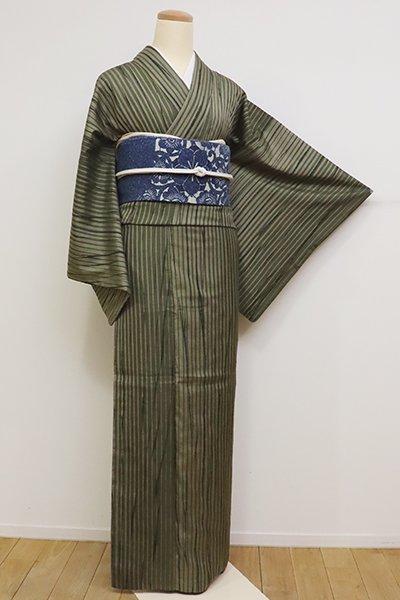 銀座【D-2394】(広め)紬地 絞り染め 小紋 麹塵色 竪縞