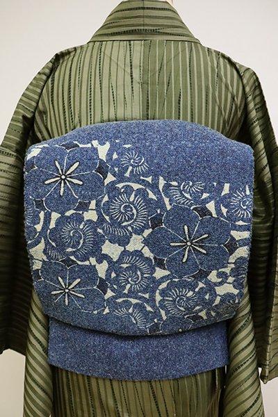 あおき【K-6447】紙布 八寸名古屋帯 青藍色 花唐草文(栞付き)