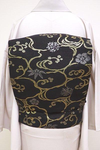 銀座【K-6449】紬地 織名古屋帯  黒色 光琳水に笹や梅など