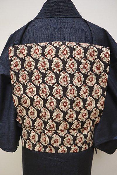 銀座【K-6450】木綿地 染名古屋帯 黒檀色 更紗文