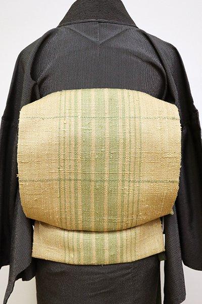 銀座【K-6451】紬地 織名古屋帯 枯色 横段に竪縞