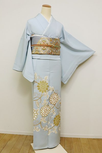 銀座【B-2399】(S)染一ッ紋 色留袖 白藍色 菊唐草文