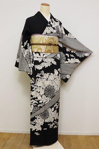 銀座【B-2402】縮緬地 訪問着 黒色 菊の図