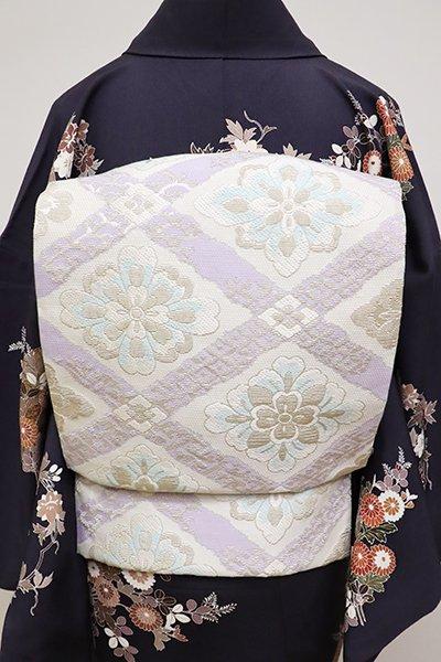 銀座【L-4815】袋帯 白色 斜め格子に花菱文(反端付)