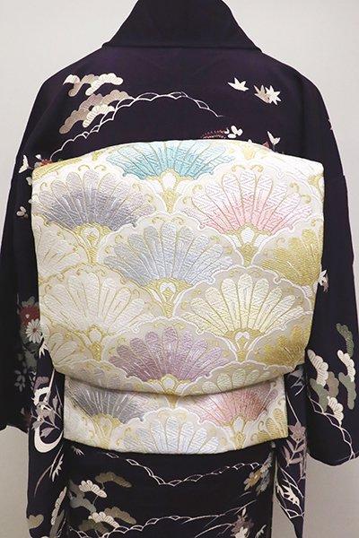 銀座【L-4818】西陣製 袋帯 白色 菊青海波(証紙付)(N)