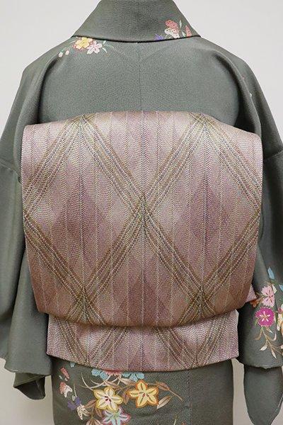 銀座【L-4819】組織り 袋帯 浅紫色 斜め格子