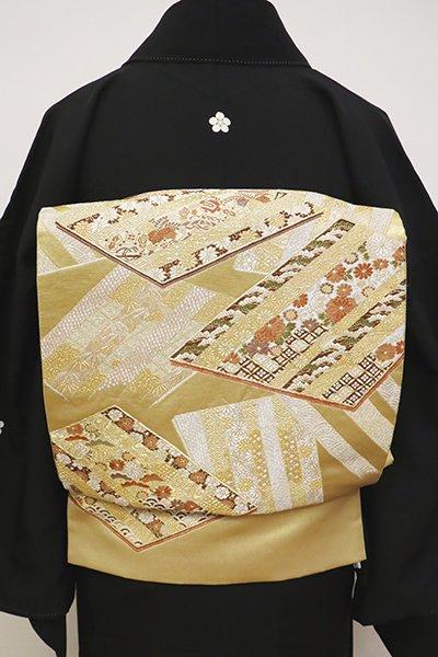 銀座【L-4821】西陣 加納幸製 袋帯 金色 色紙重ね文(落款入)
