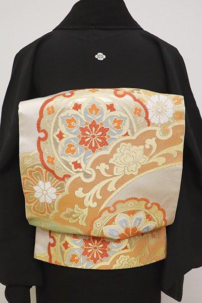 銀座【L-4822】西陣 川島織物製 本袋帯 薄卵色 大雪輪文(落款入)