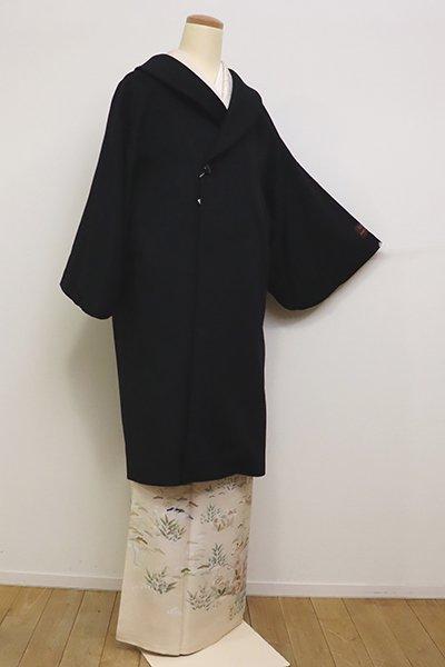 銀座【E-1166】BALMAIN カシミア 和装コート 黒色 無地 Lサイズ(N)