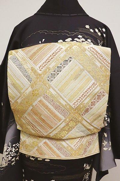 銀座【L-4823】西陣 河村織物製 袋帯 金色 「甲冑天井文」(落款入)