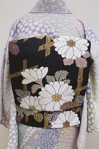 銀座【L-4825】西陣製 袋帯 黒色 垣根に菊の図(証紙付)(N)
