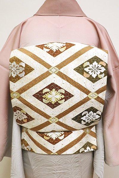 銀座【L-4827】西陣 盡政製 刺繍 袋帯 琥珀色 唐草花菱文(反端付)