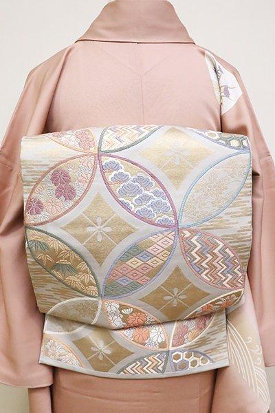 銀座【L-4829】唐織 本袋帯 白鼠色 七宝繋ぎ文
