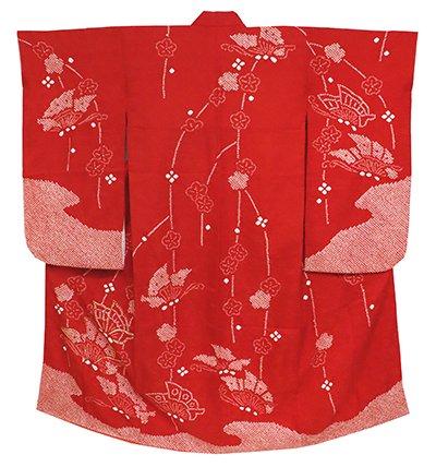 あおき【B-2413】女児 七歳祝着 絞り染め 深緋色 梅に揚羽蝶の図