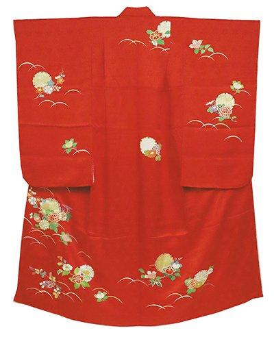 あおき【B-2414】女児 七歳祝着 緋色 雪輪に四季花の図(高島屋扱い)