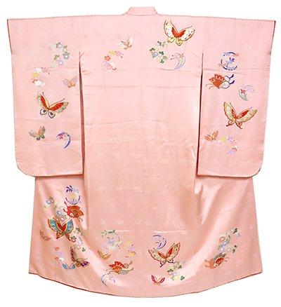 あおき【B-2416】女児 七歳祝着 紅梅色 蝶に花の丸文