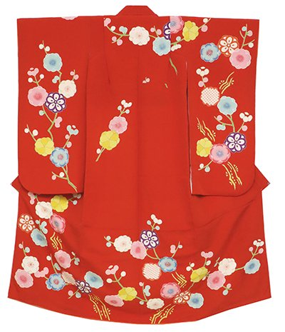 あおき【B-2419】女児 七歳祝着 縮緬地 赤色 梅と桜の花枝