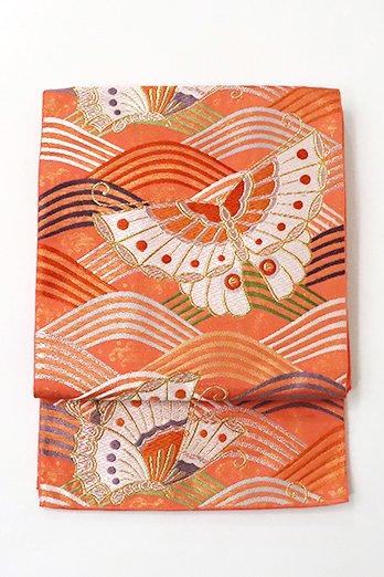銀座【L-4832】本袋帯 鉛丹色 波に胡蝶の図