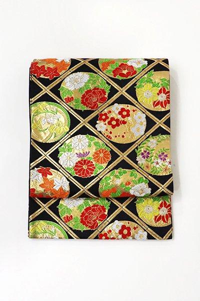 あおき【L-4834】西陣製 子供用袋帯 黒色 格子に花の丸文 (三越扱い)
