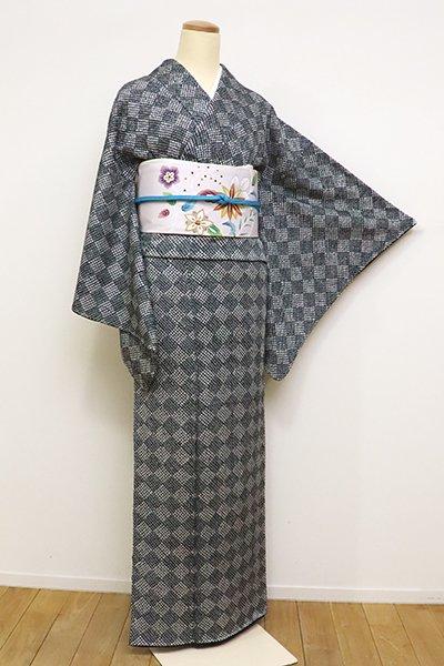 銀座【D-2397】(L・広め)総絞り 小紋 黒色 斜め市松文