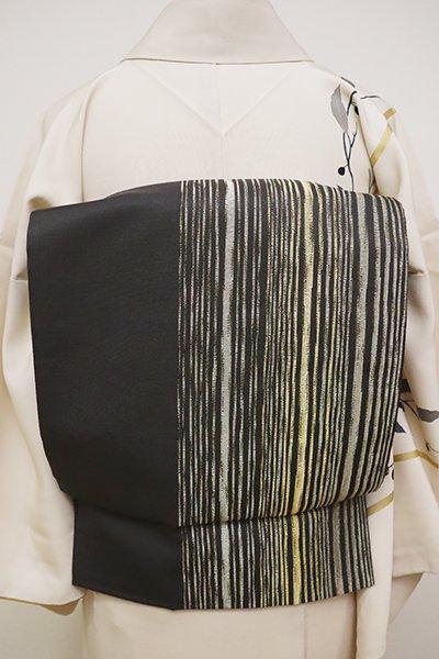 銀座【L-4839】洒落袋帯 檳榔子染色 縞文