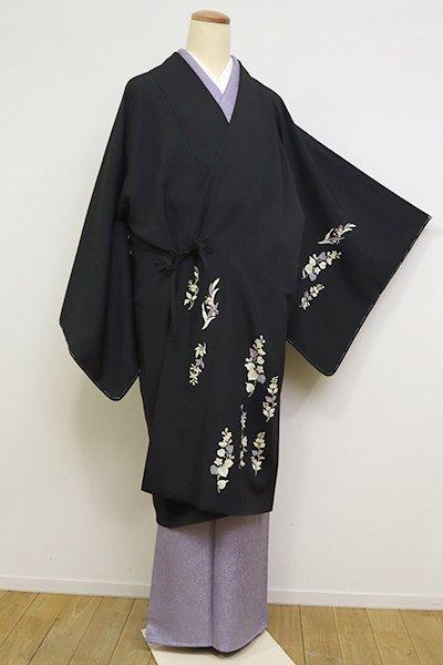 銀座【E-1169】絵羽道中着 墨黒色 花の図(反端付)(N)